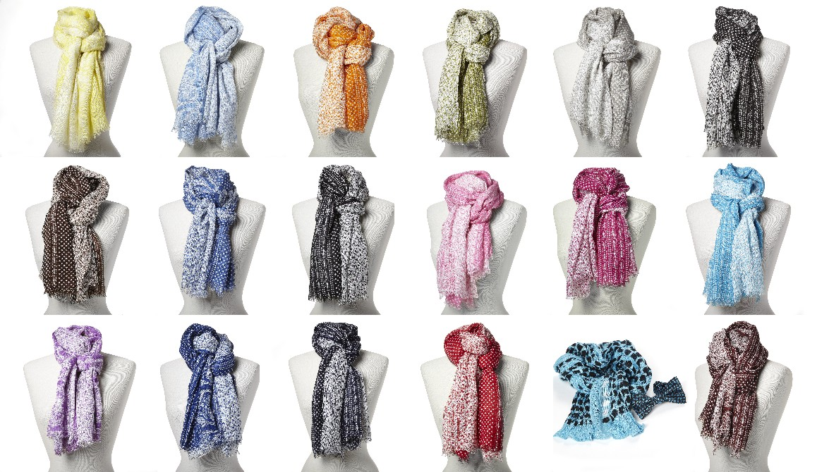 Big scarves for corporate clothing. AMENO scarves shawls in 17 colors available from stock.